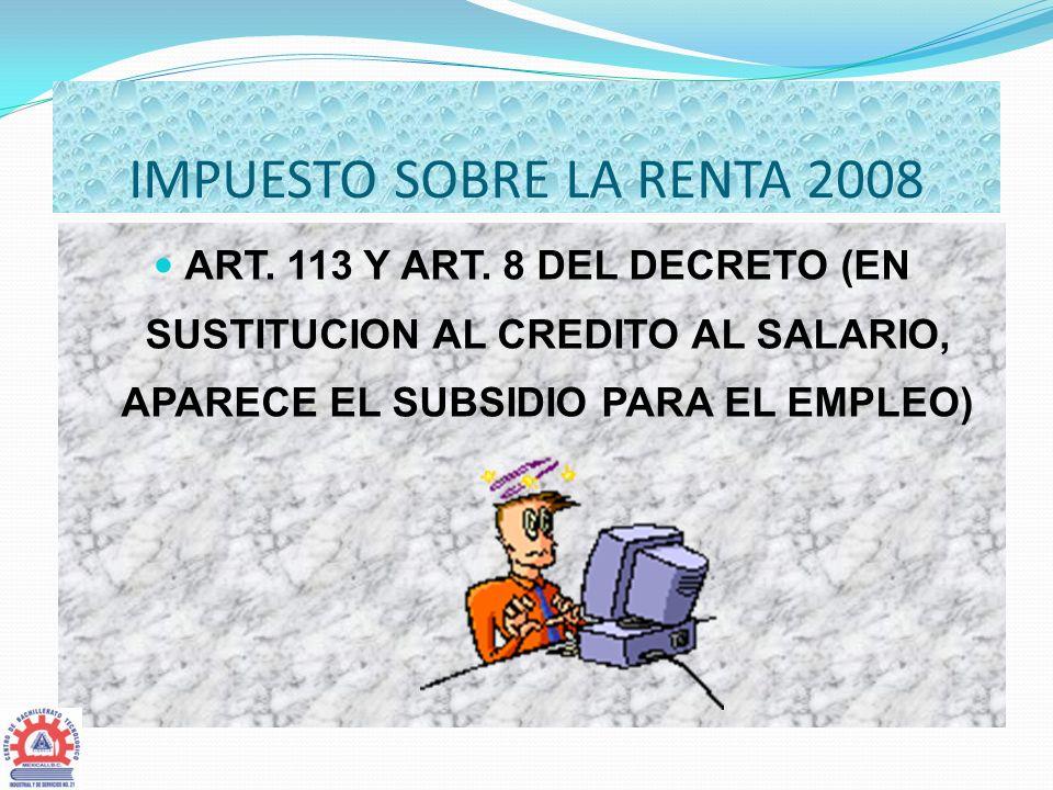 IMPUESTO SOBRE LA RENTA 2008
