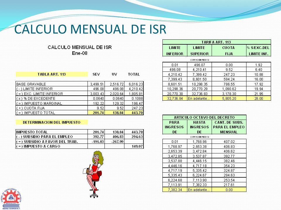 CALCULO MENSUAL DE ISR