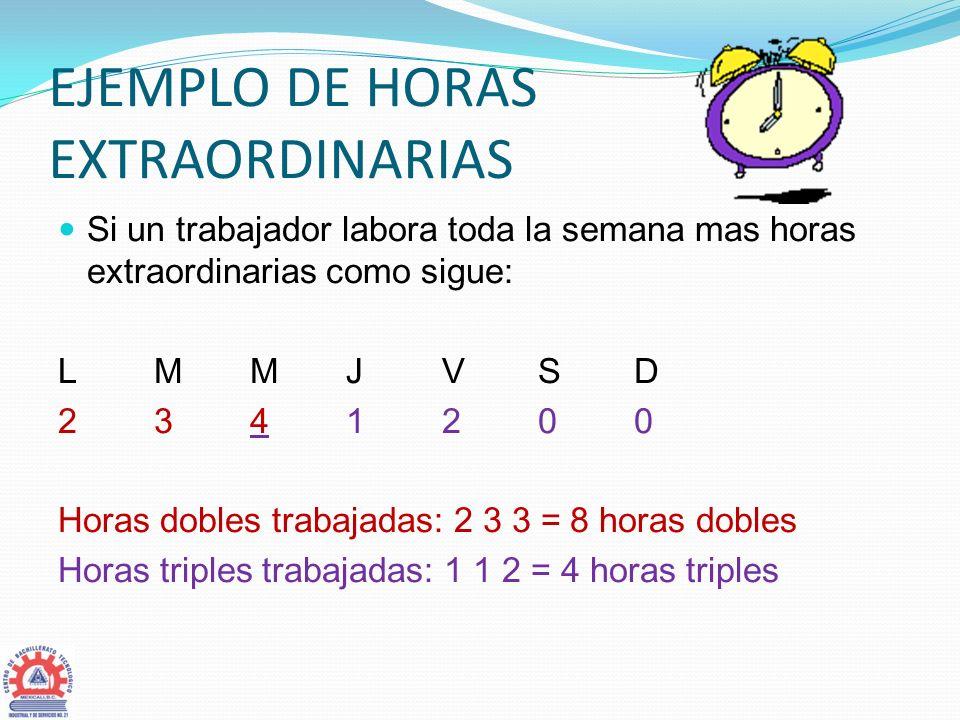 EJEMPLO DE HORAS EXTRAORDINARIAS