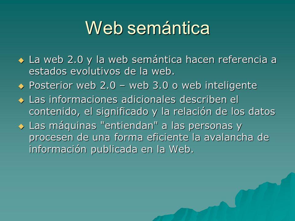 Web semánticaLa web 2.0 y la web semántica hacen referencia a estados evolutivos de la web. Posterior web 2.0 – web 3.0 o web inteligente.