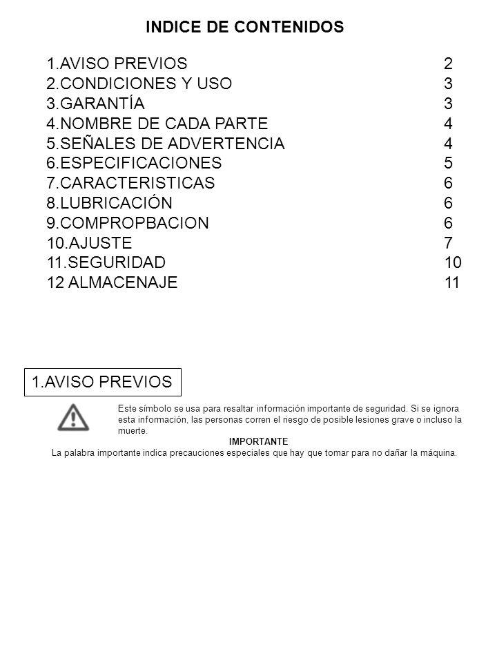 5.SEÑALES DE ADVERTENCIA 4 6.ESPECIFICACIONES 5 7.CARACTERISTICAS 6