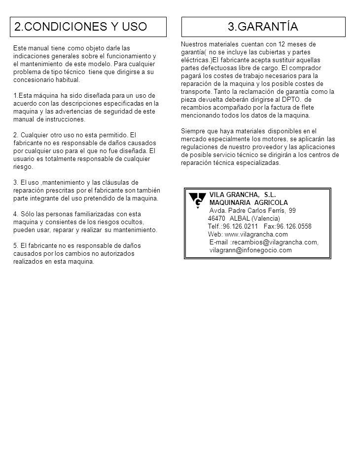 2.CONDICIONES Y USO 3.GARANTÍA