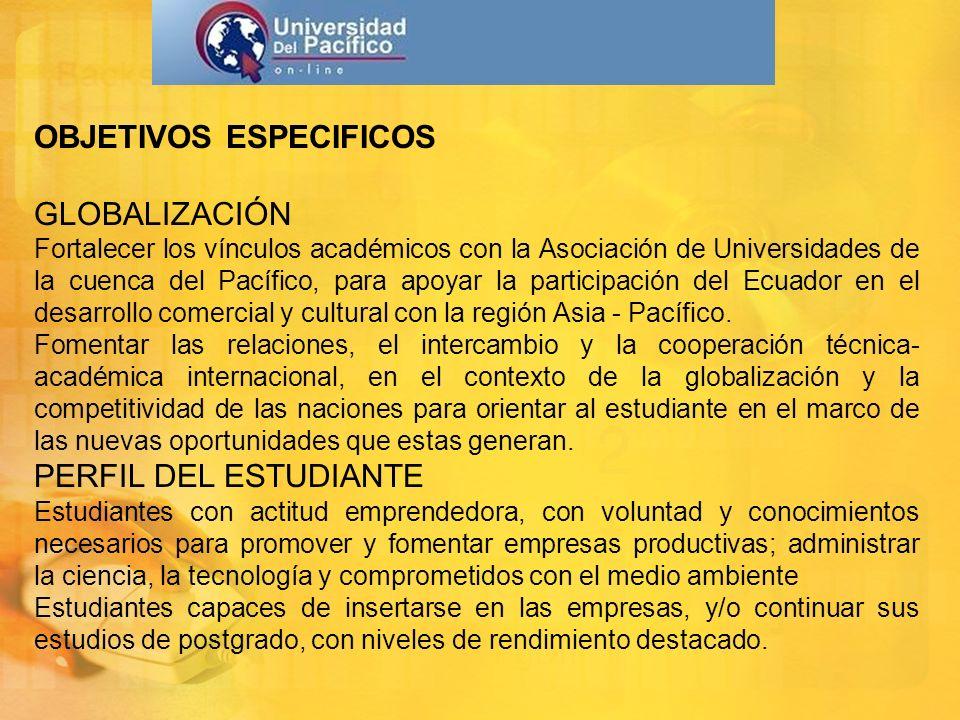 OBJETIVOS ESPECIFICOS GLOBALIZACIÓN