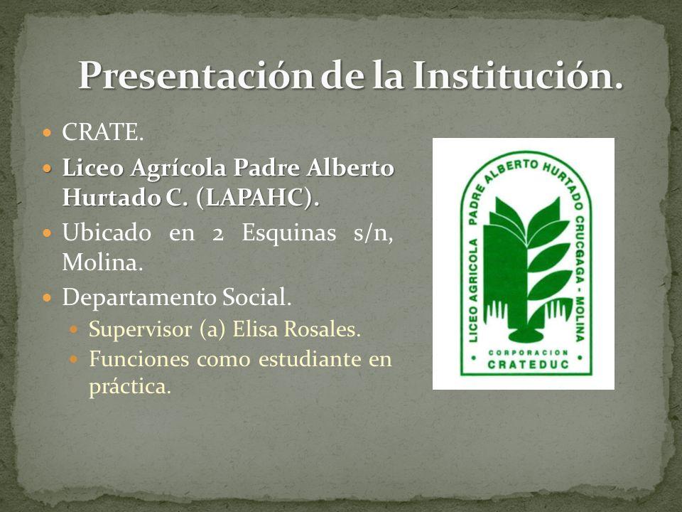 Presentación de la Institución.