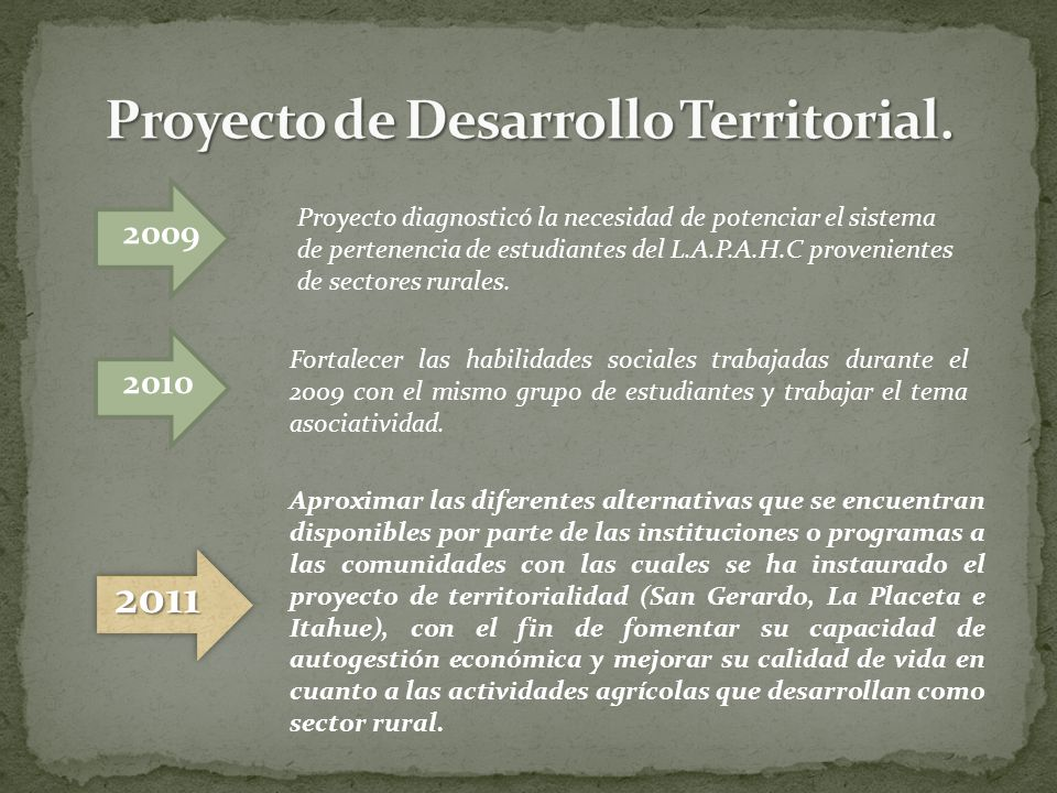 Proyecto de Desarrollo Territorial.