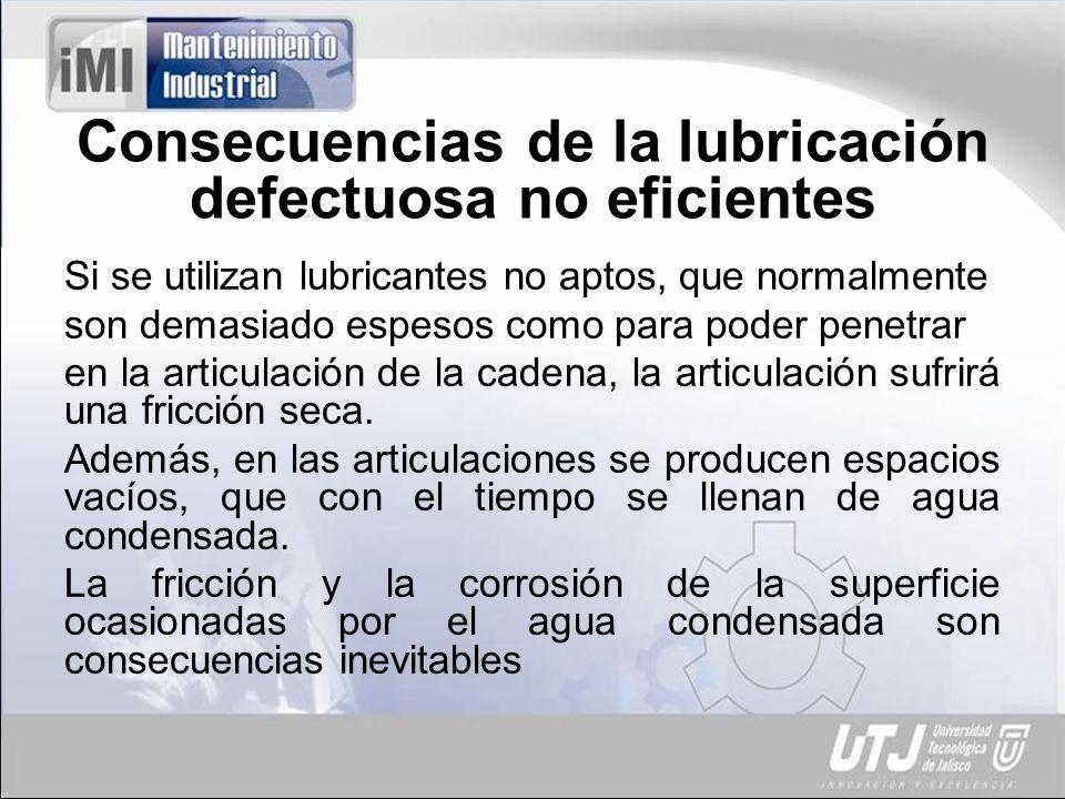 Consecuencias de la lubricación defectuosa no eficientes