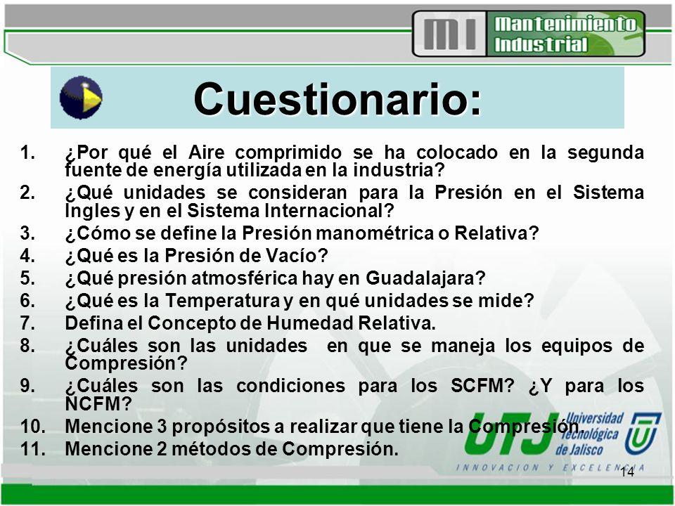 Cuestionario: ¿Por qué el Aire comprimido se ha colocado en la segunda fuente de energía utilizada en la industria