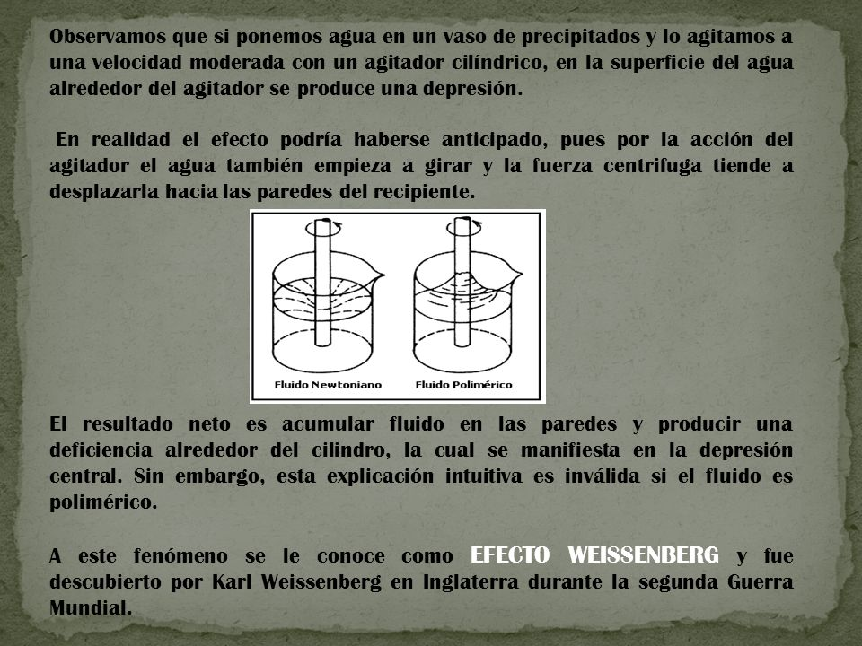 Observamos que si ponemos agua en un vaso de precipitados y lo agitamos a una velocidad moderada con un agitador cilíndrico, en la superficie del agua alrededor del agitador se produce una depresión.