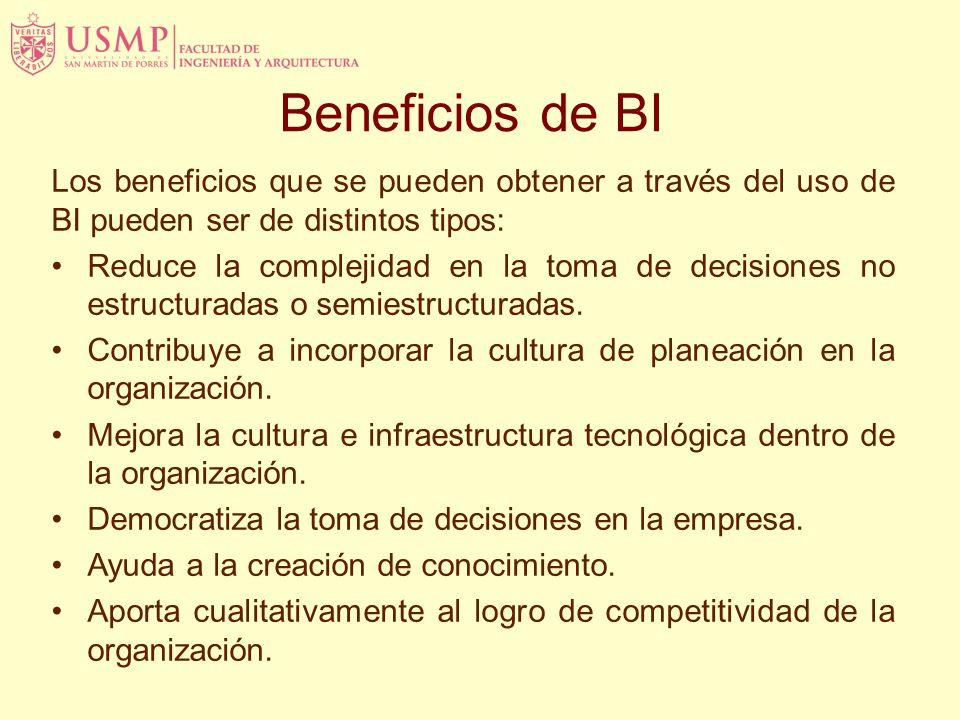 Beneficios de BI Los beneficios que se pueden obtener a través del uso de BI pueden ser de distintos tipos:
