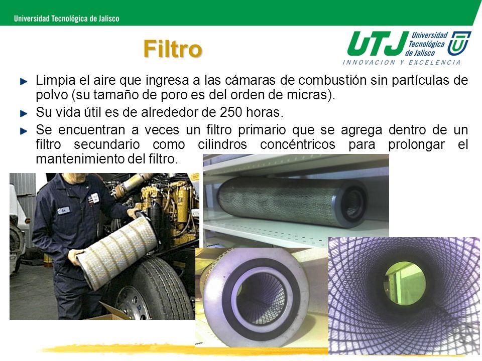 FiltroLimpia el aire que ingresa a las cámaras de combustión sin partículas de polvo (su tamaño de poro es del orden de micras).