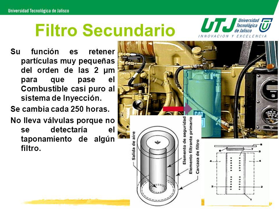 Filtro Secundario Su función es retener partículas muy pequeñas del orden de las 2 µm para que pase el Combustible casi puro al sistema de Inyección.