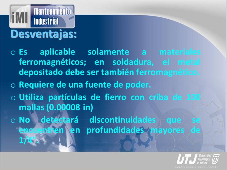 Desventajas: Es aplicable solamente a materiales ferromagnéticos; en soldadura, el metal depositado debe ser también ferromagnético.