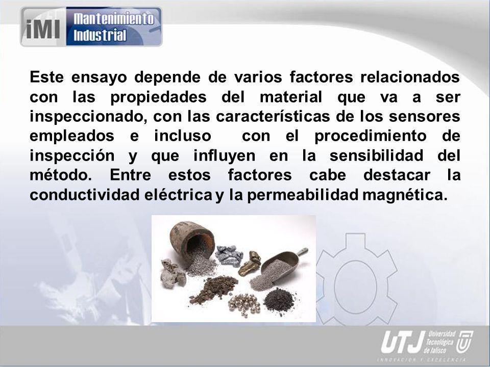 Este ensayo depende de varios factores relacionados con las propiedades del material que va a ser inspeccionado, con las características de los sensores empleados e incluso con el procedimiento de inspección y que influyen en la sensibilidad del método.