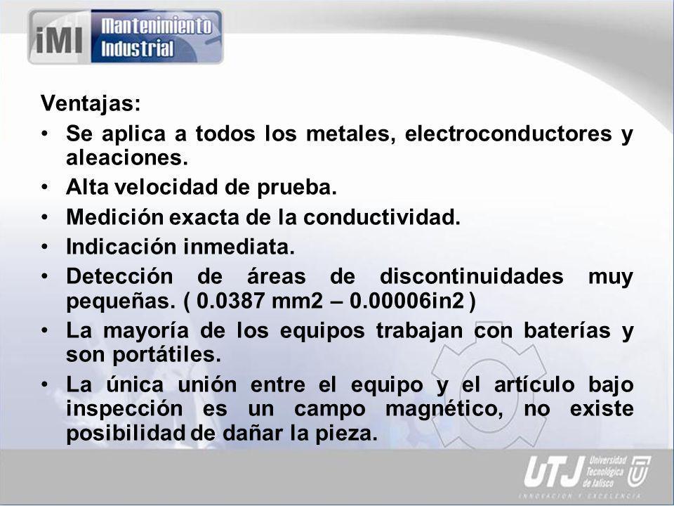 Ventajas: Se aplica a todos los metales, electroconductores y aleaciones. Alta velocidad de prueba.