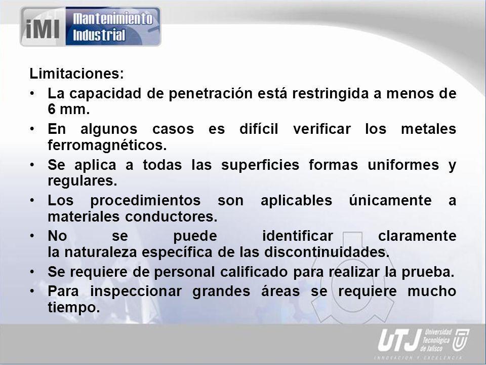 Limitaciones: La capacidad de penetración está restringida a menos de 6 mm. En algunos casos es difícil verificar los metales ferromagnéticos.