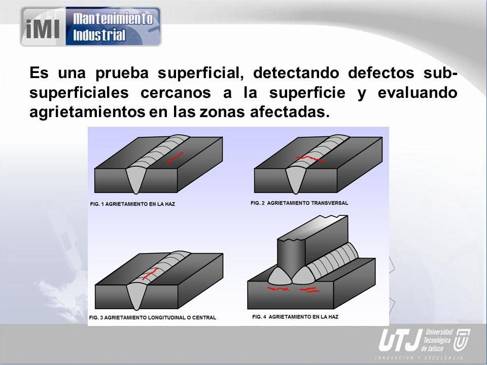 Es una prueba superficial, detectando defectos sub-superficiales cercanos a la superficie y evaluando agrietamientos en las zonas afectadas.