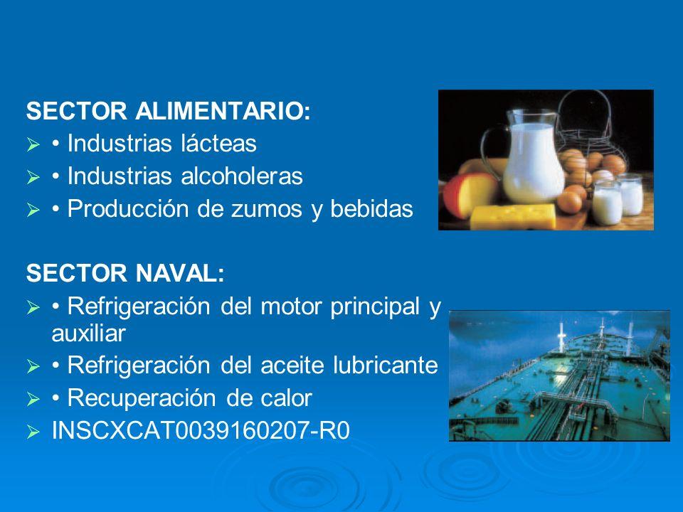 SECTOR ALIMENTARIO:• Industrias lácteas. • Industrias alcoholeras. • Producción de zumos y bebidas.