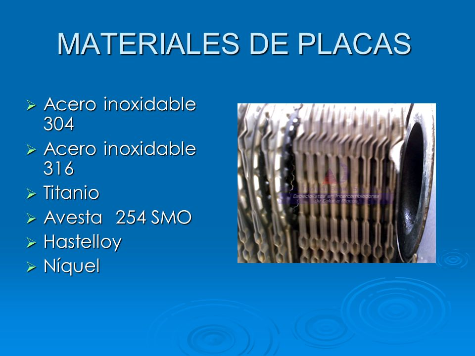 MATERIALES DE PLACAS Acero inoxidable 304 Acero inoxidable 316 Titanio