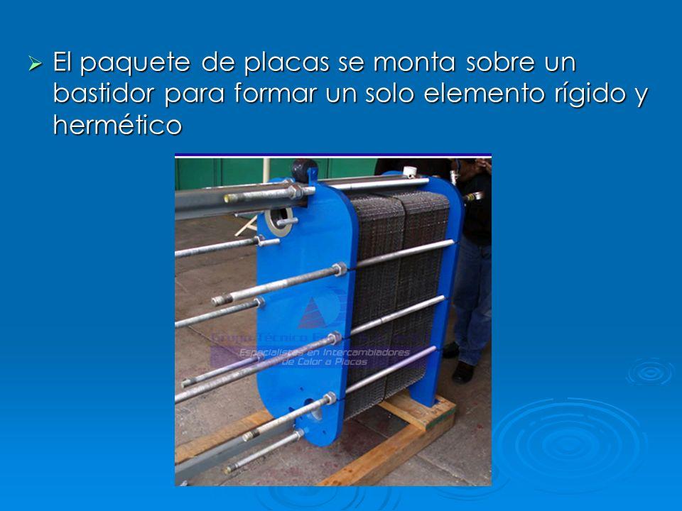 El paquete de placas se monta sobre un bastidor para formar un solo elemento rígido y hermético