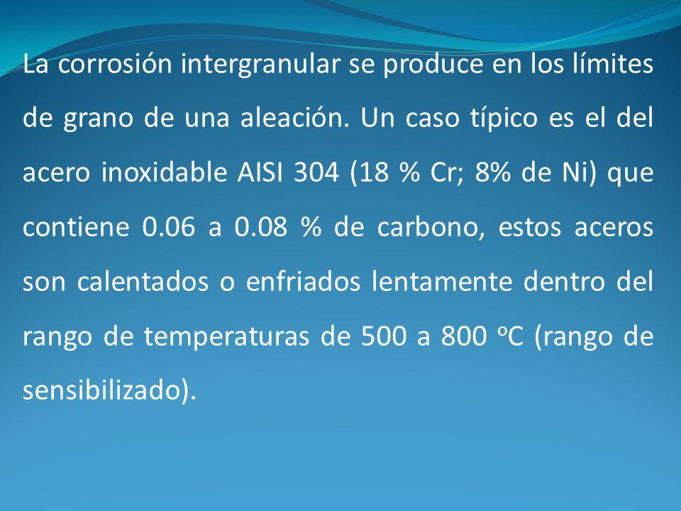 La corrosión intergranular se produce en los límites de grano de una aleación.