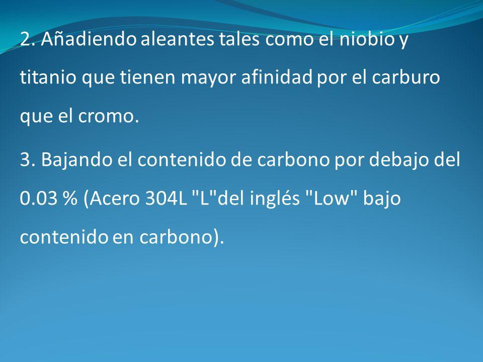2. Añadiendo aleantes tales como el niobio y titanio que tienen mayor afinidad por el carburo que el cromo.