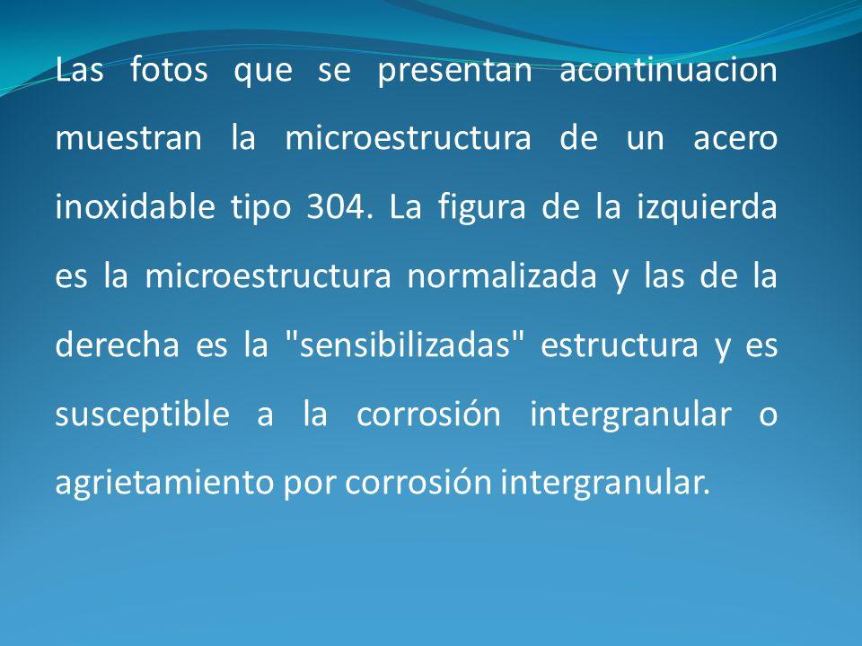 Las fotos que se presentan acontinuacion muestran la microestructura de un acero inoxidable tipo 304.