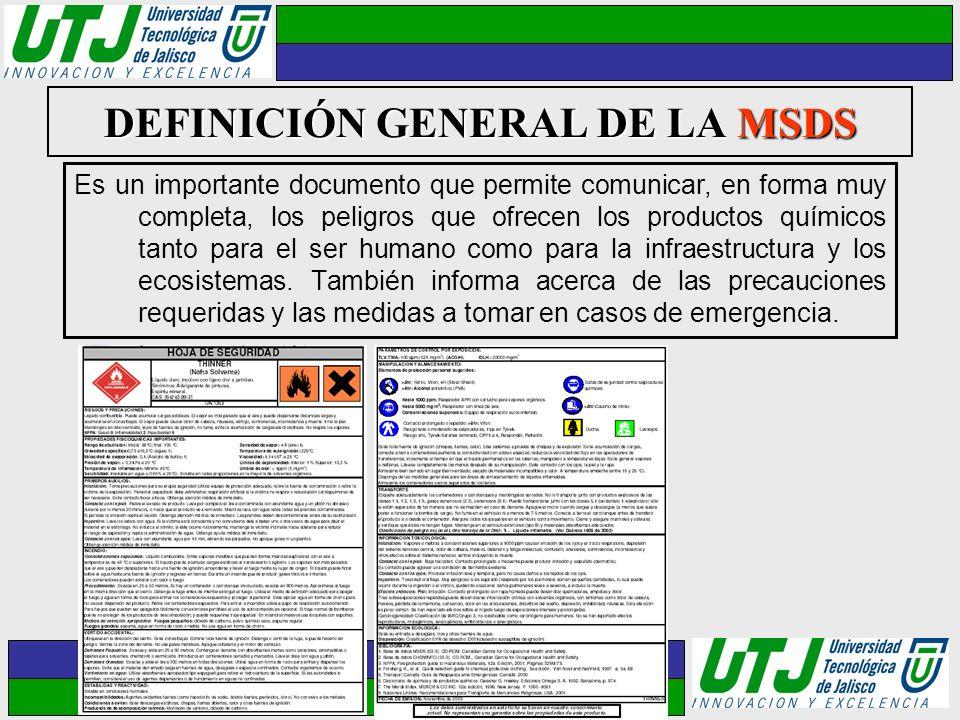 DEFINICIÓN GENERAL DE LA MSDS