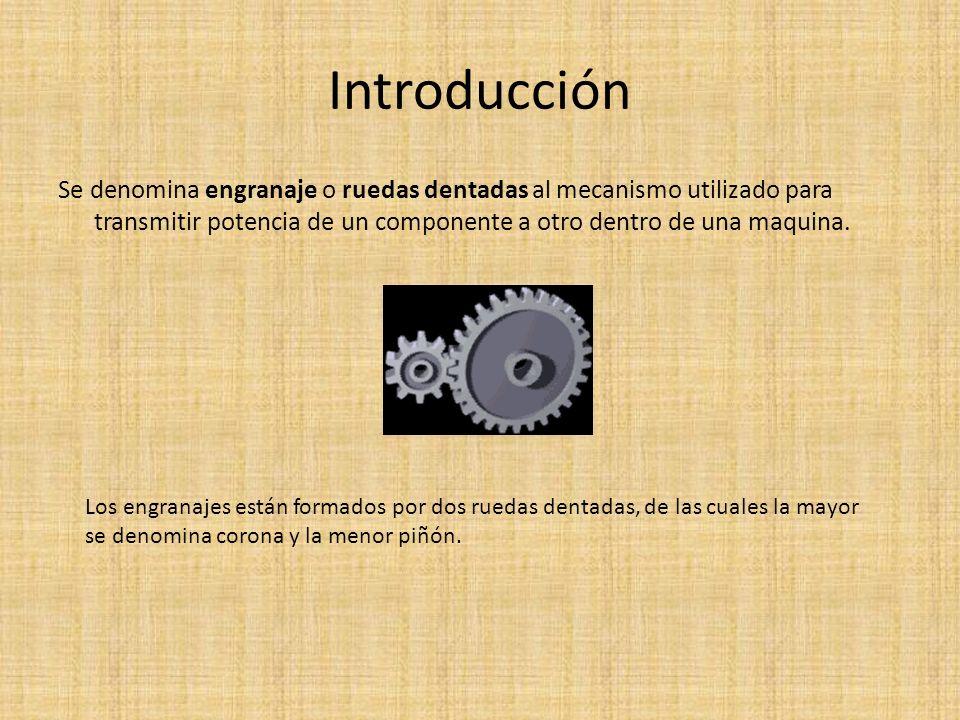 Introducción Se denomina engranaje o ruedas dentadas al mecanismo utilizado para transmitir potencia de un componente a otro dentro de una maquina.