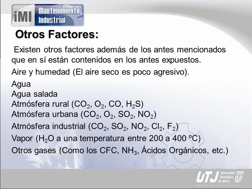 Otros Factores: Existen otros factores además de los antes mencionados que en sí están contenidos en los antes expuestos.