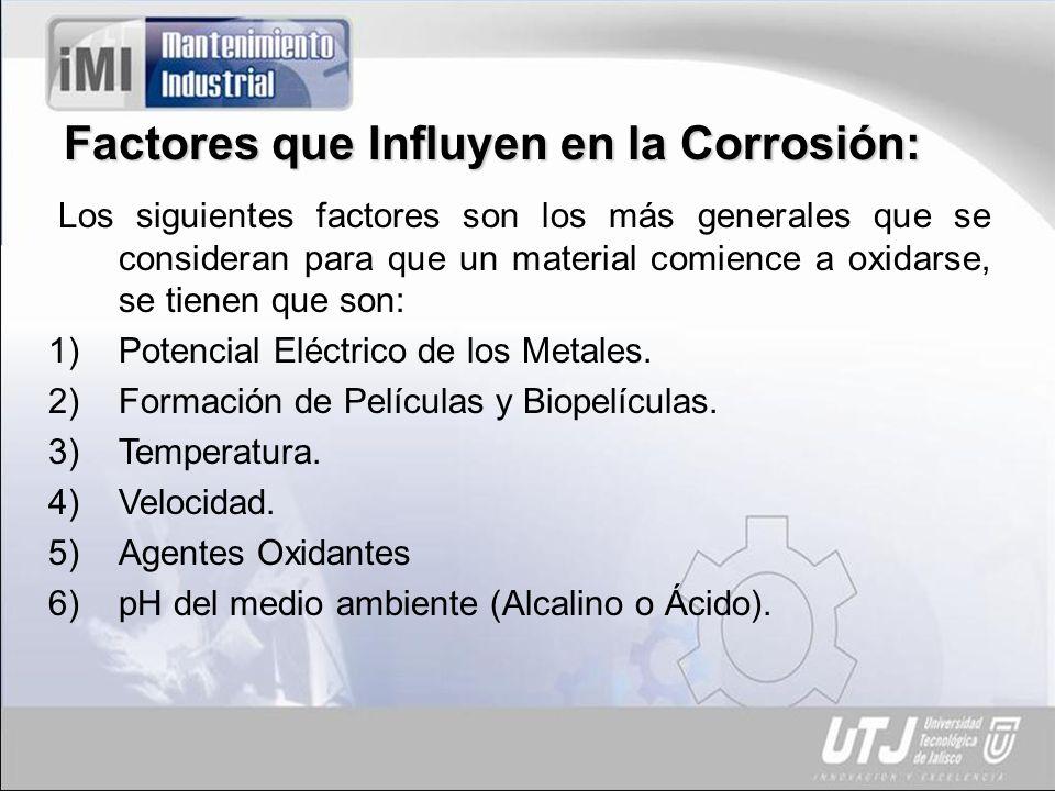 Factores que Influyen en la Corrosión: