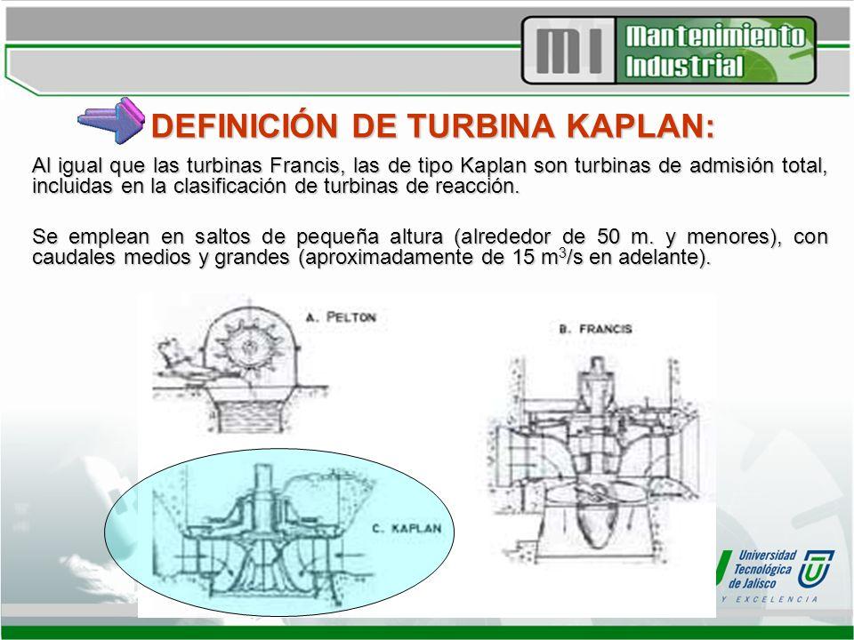 DEFINICIÓN DE TURBINA KAPLAN: