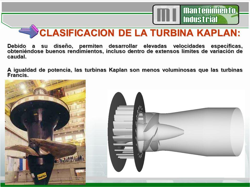 CLASIFICACIÓN DE LA TURBINA KAPLAN: