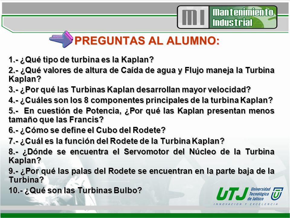 PREGUNTAS AL ALUMNO: 1.- ¿Qué tipo de turbina es la Kaplan