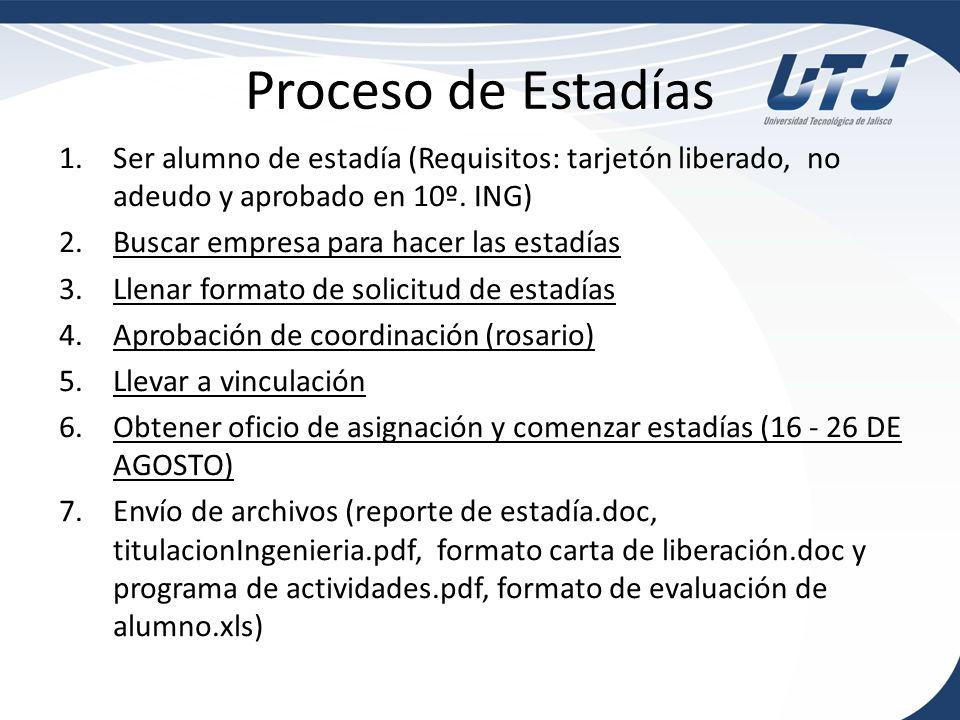Proceso de Estadías Ser alumno de estadía (Requisitos: tarjetón liberado, no adeudo y aprobado en 10º. ING)