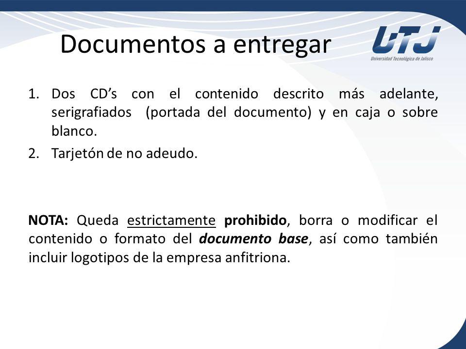 Documentos a entregarDos CD's con el contenido descrito más adelante, serigrafiados (portada del documento) y en caja o sobre blanco.