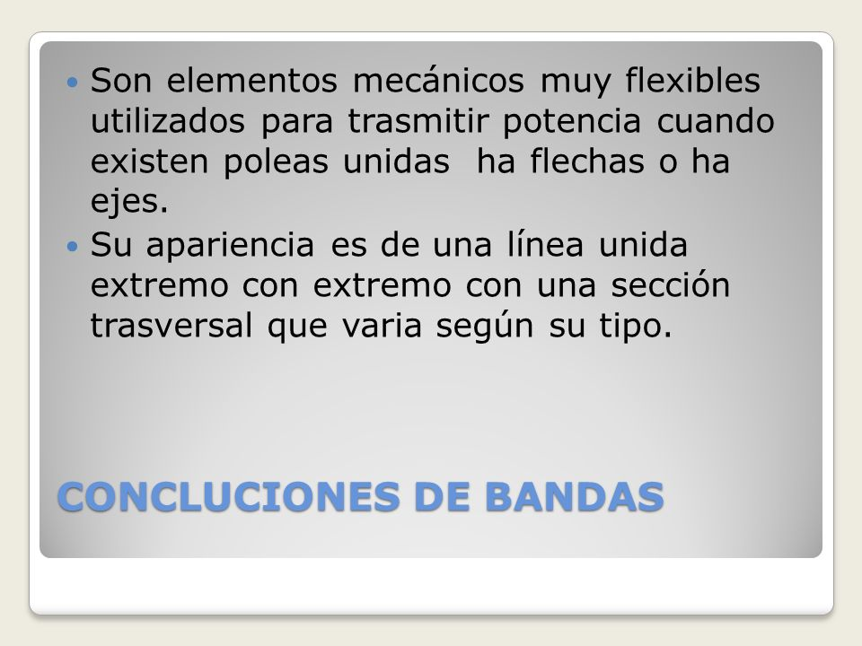 CONCLUCIONES DE BANDAS