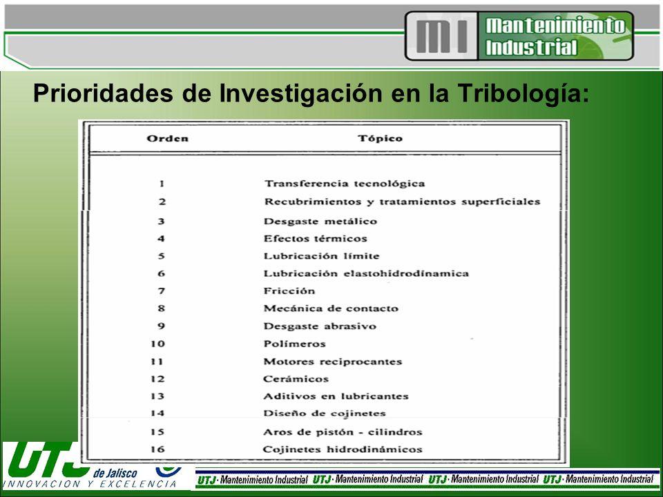 Prioridades de Investigación en la Tribología: