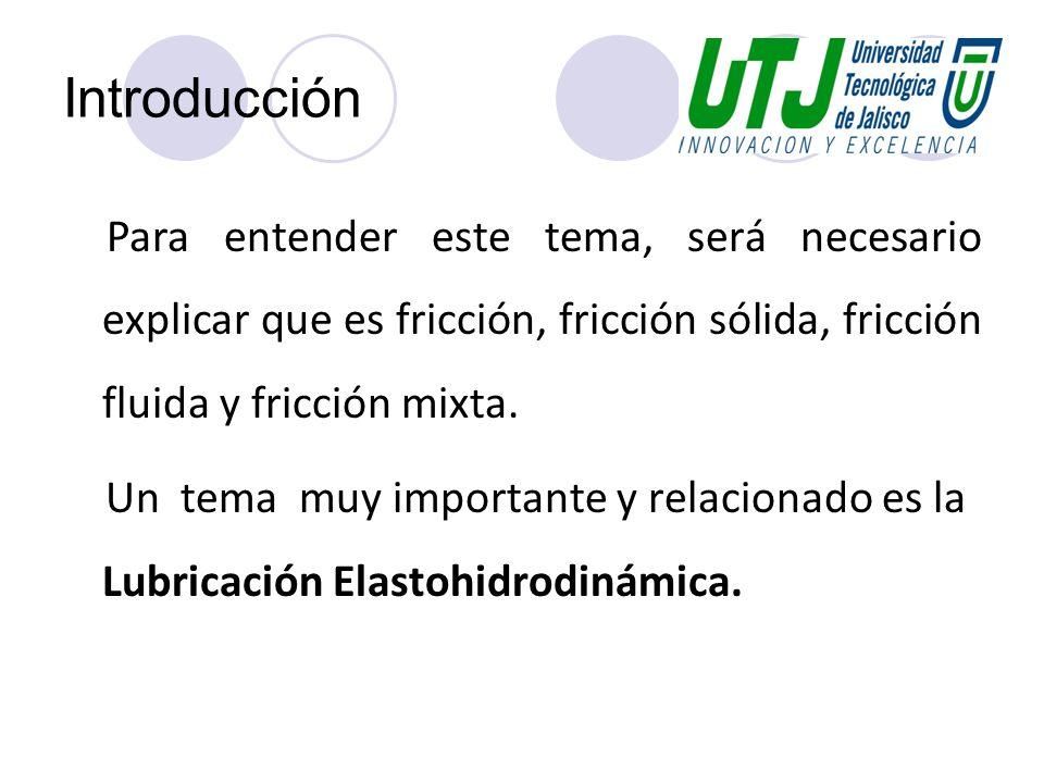 Introducción Para entender este tema, será necesario explicar que es fricción, fricción sólida, fricción fluida y fricción mixta.