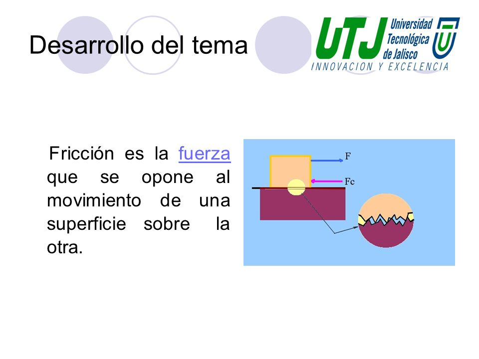 Desarrollo del temaFricción es la fuerza que se opone al movimiento de una superficie sobre la otra.