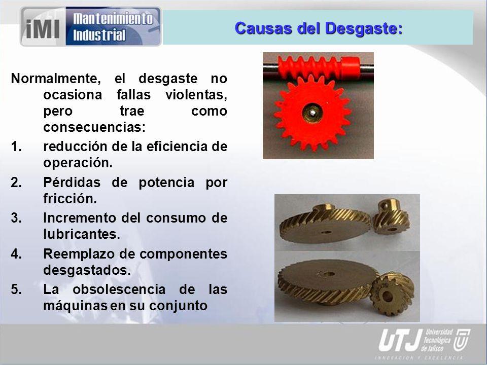 Causas del Desgaste: Normalmente, el desgaste no ocasiona fallas violentas, pero trae como consecuencias: