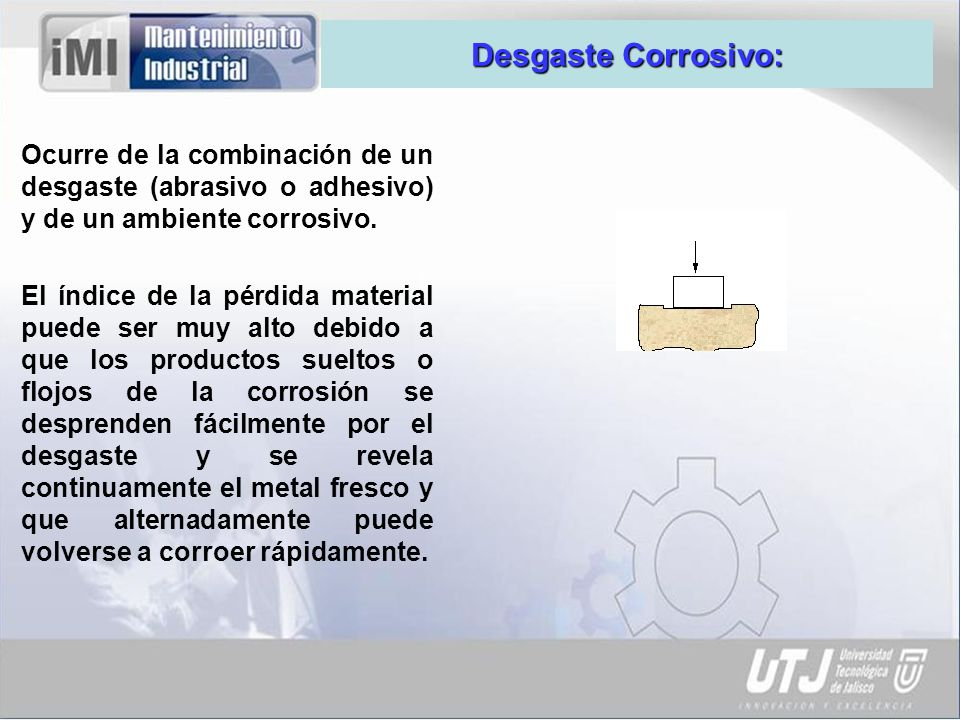 Desgaste Corrosivo: Ocurre de la combinación de un desgaste (abrasivo o adhesivo) y de un ambiente corrosivo.