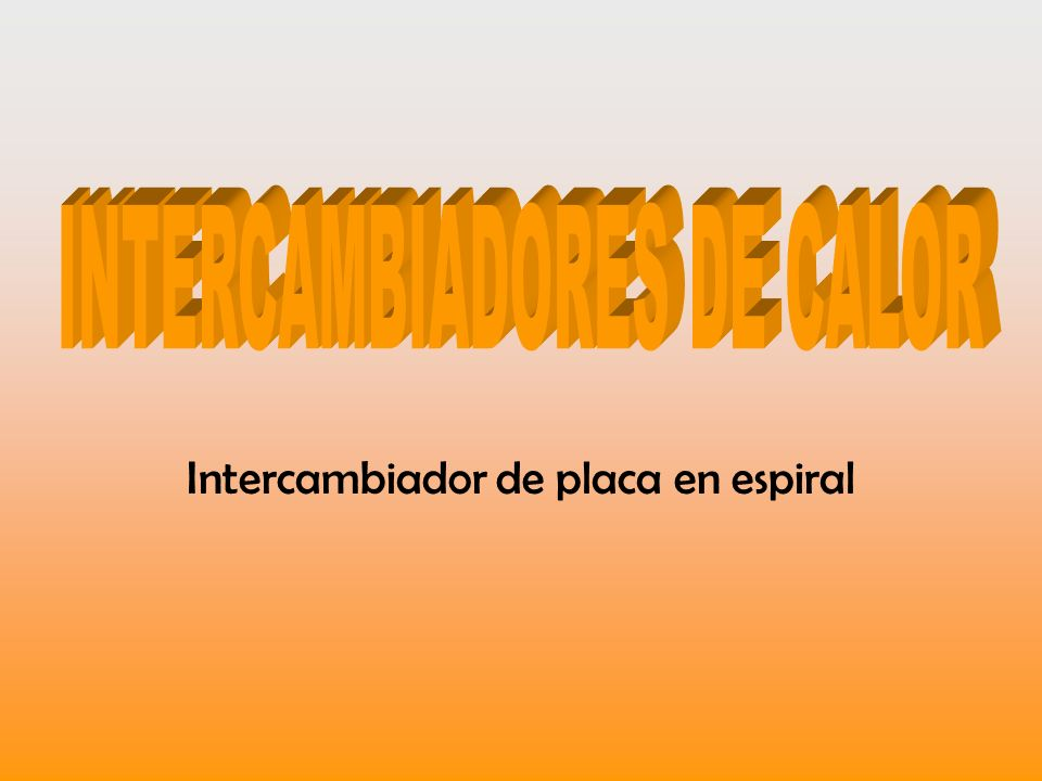 Intercambiador de placa en espiral