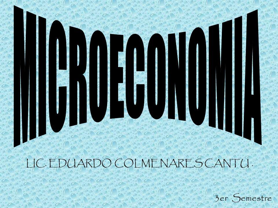 MICROECONOMIA LIC. EDUARDO COLMENARES CANTU . 3er Semestre