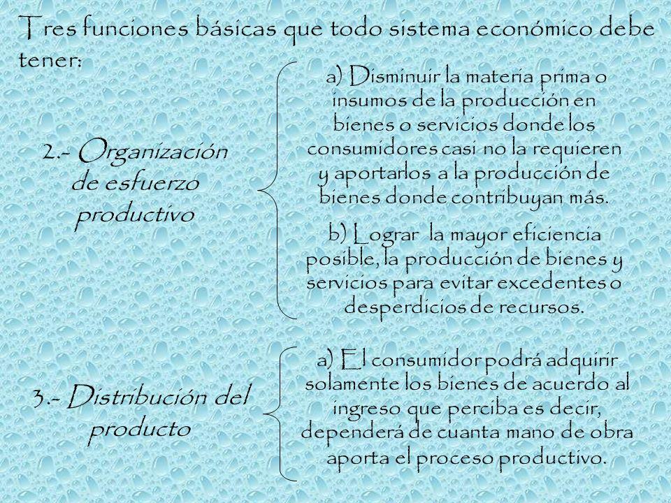 Tres funciones básicas que todo sistema económico debe tener:
