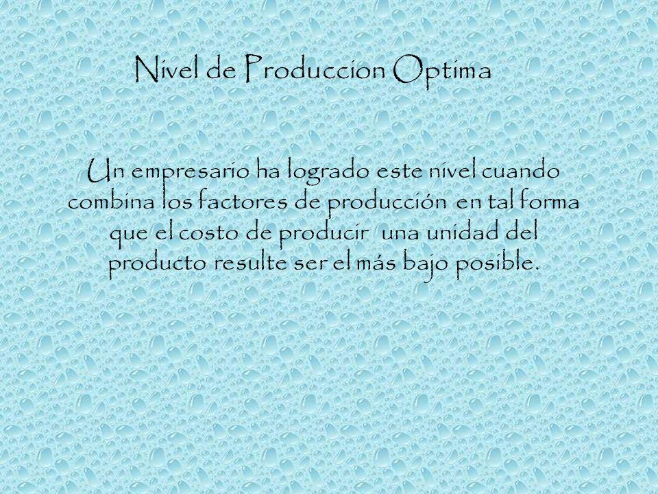 Nivel de Produccion Optima