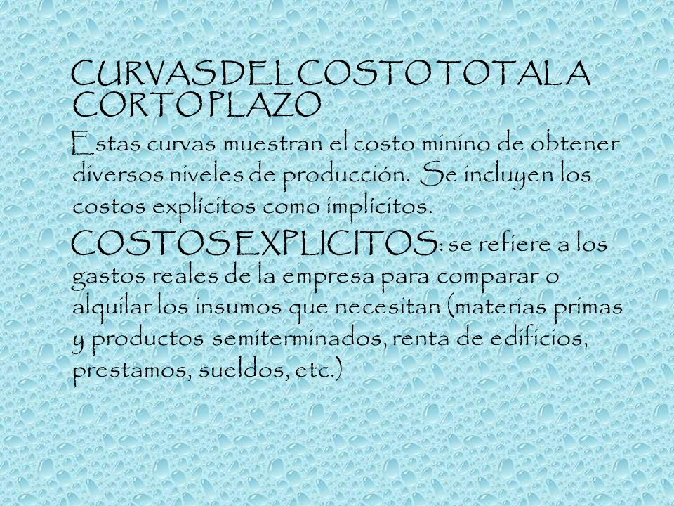 CURVAS DEL COSTO TOTAL A CORTO PLAZO