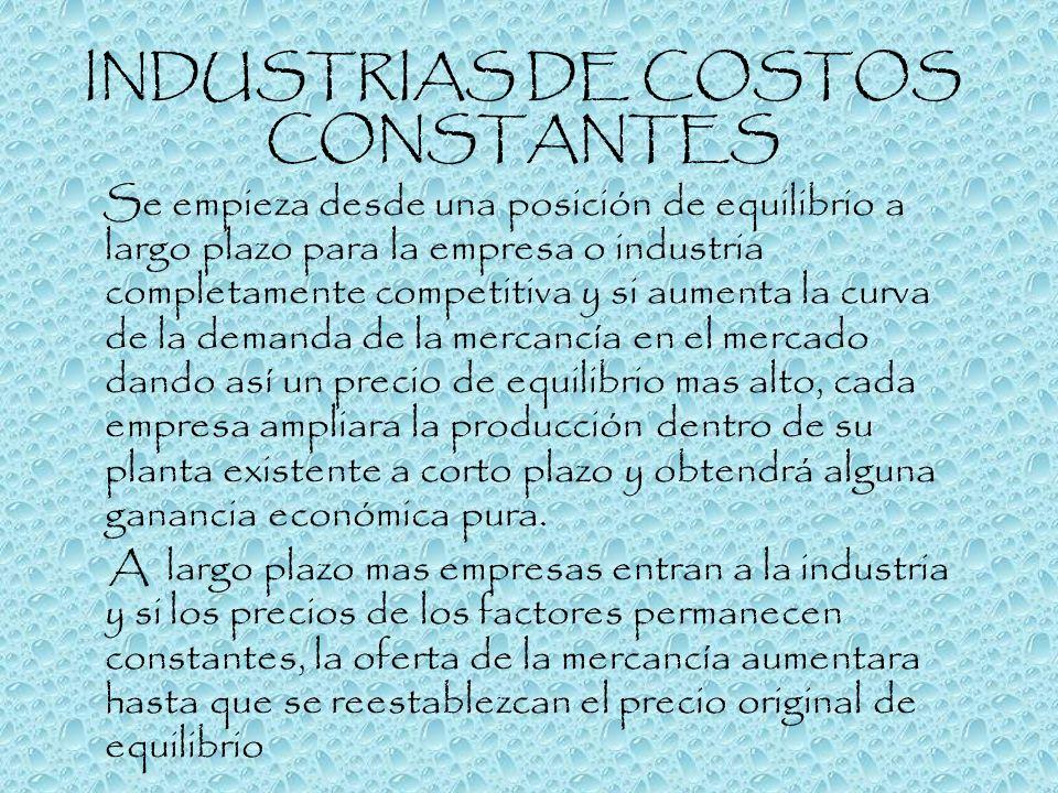 INDUSTRIAS DE COSTOS CONSTANTES