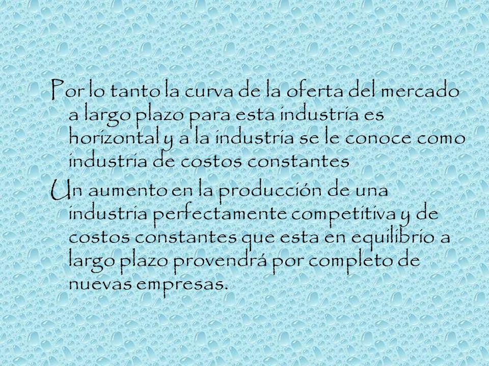Por lo tanto la curva de la oferta del mercado a largo plazo para esta industria es horizontal y a la industria se le conoce como industria de costos constantes