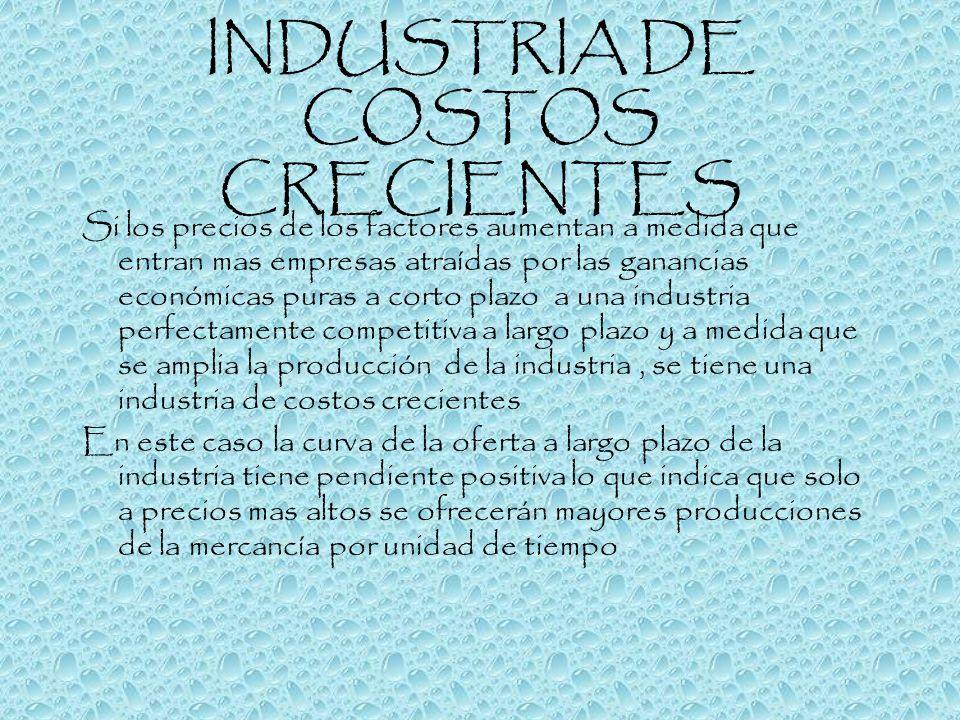 INDUSTRIA DE COSTOS CRECIENTES