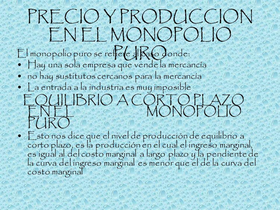 PRECIO Y PRODUCCION EN EL MONOPOLIO PURO
